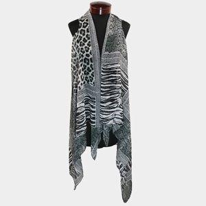 Black White Leopard Print Zebra Flowing Sheer Vest